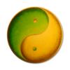 Leinwandbild Yin Yang Grüne Erde in Gold ab Größe 50cm - Energiebild handgemalt