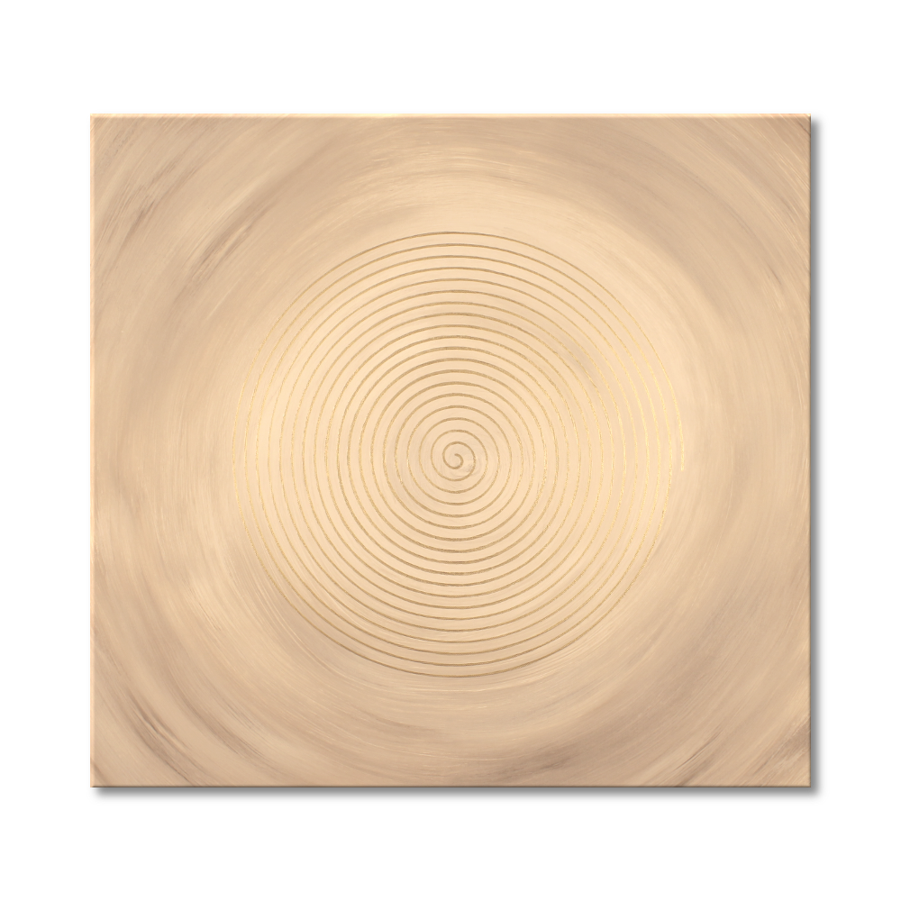 Leinwandbild Spirale Sandsturm in Gold