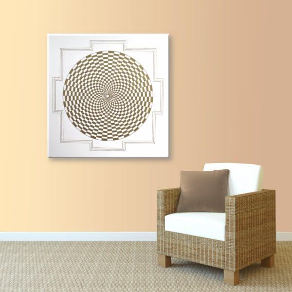 Wandbild Energiebild Pranagenerator Labyrinth der Kraft Gold_apricot