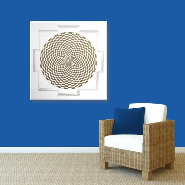 Wandbild Energiebild Pranagenerator Labyrinth der Kraft Gold_blau