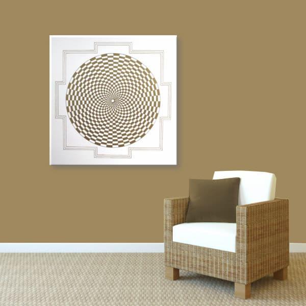 Wandbild Energiebild Pranagenerator Labyrinth der Kraft Gold_braun