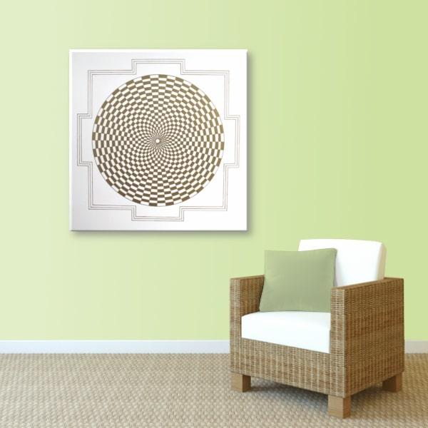 Wandbild Energiebild Pranagenerator Labyrinth der Kraft Gold_lindgrün