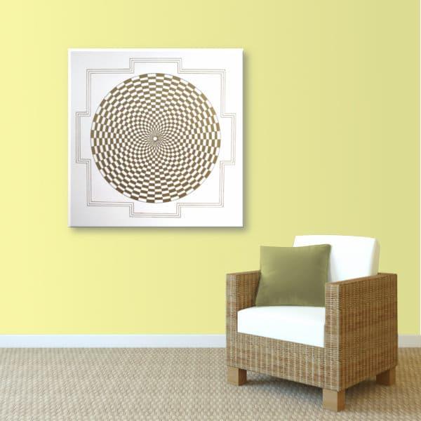 Wandbild Energiebild Pranagenerator Labyrinth der Kraft Gold_sand