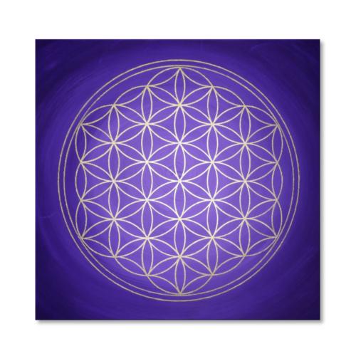 Wandbild Blume des Lebens Gold und Violett Seelentor
