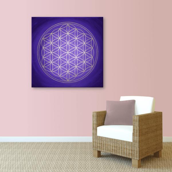 Energiebild blume des lebens seelentor violett gold - Wandbild altrosa ...