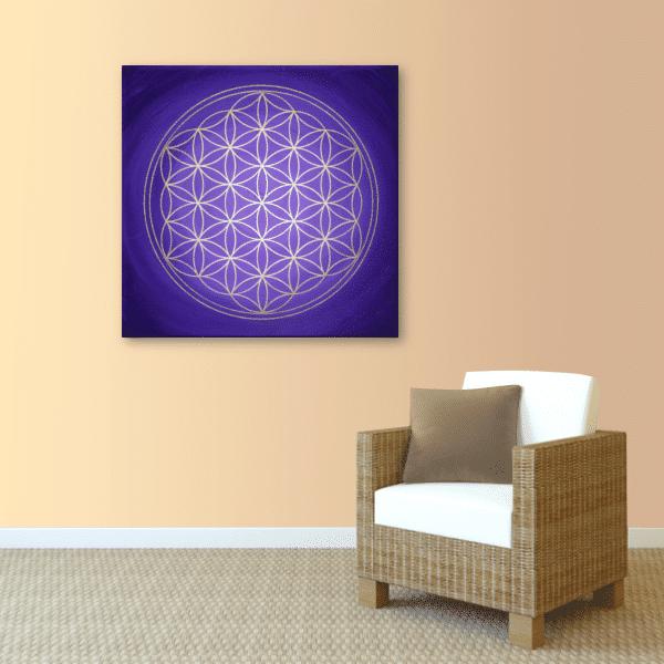Wandbild Blume des Lebens Gold und violett
