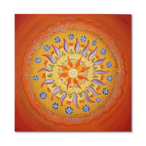 Leinwandbild Mandala OM - handgemalt