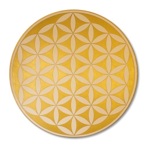 Leinwandbild Blume des Lebens Gold