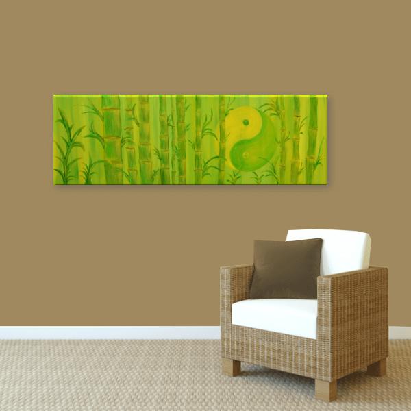 Wandbild Yin Yang Bambus Handgemalte Energiebilder