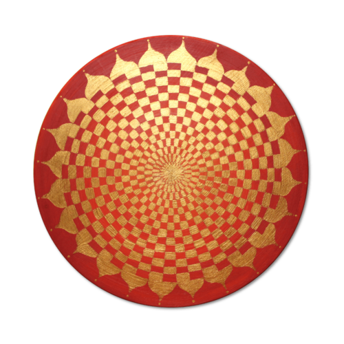 Holzscheibe bemalt mit Pranagenerator Gold roter Lotus