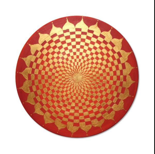 Holzplatte Energiebild Pranagenerator Gold_Frontalbild