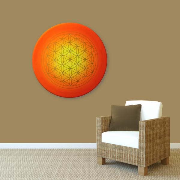 Wandbild Energiebild Blume des Lebens Sonnenuntergang gold rot gelb_braun