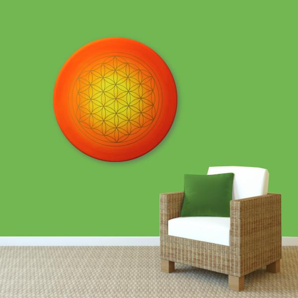 Wandbild Energiebild Blume des Lebens Sonnenuntergang gold rot gelb_grün