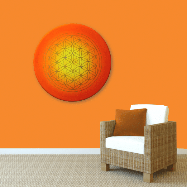 Wandbild Energiebild Blume des Lebens Sonnenuntergang gold rot gelb_orange