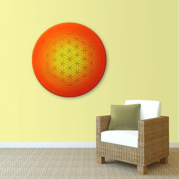 Wandbild Energiebild Blume des Lebens Sonnenuntergang gold rot gelb_sand