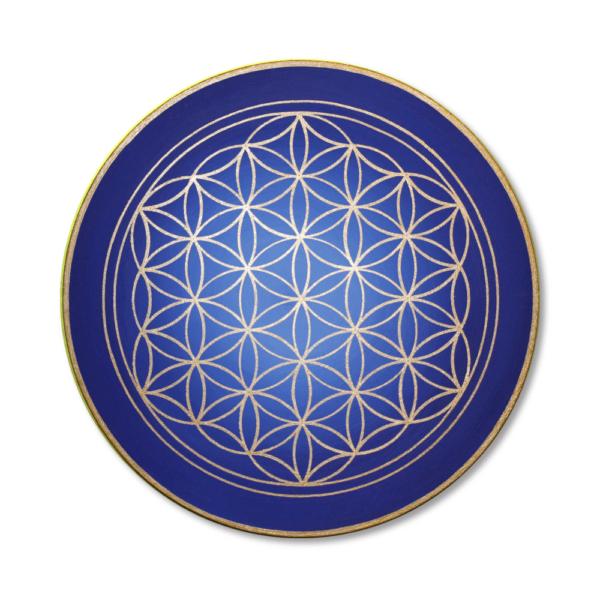 Wandbild Energiebild Blume des Lebens gold rund Evolution der Seele_Frontalbild