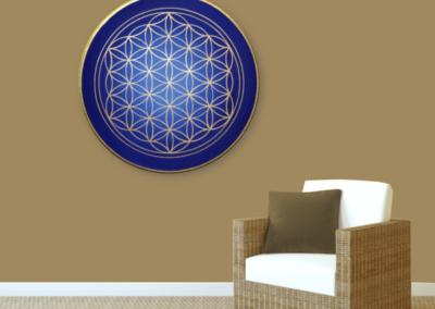 Wandbild Energiebild Blume des Lebens gold rund Evolution der Seele_braun