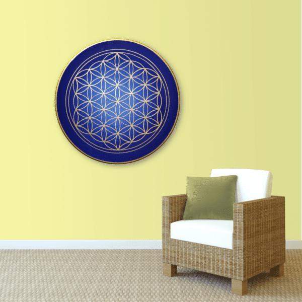 Wandbild Energiebild Blume des Lebens gold rund Evolution der Seele_gelb