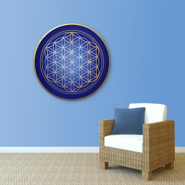 Wandbild Energiebild Blume des Lebens gold rund Evolution der Seele_hellblau