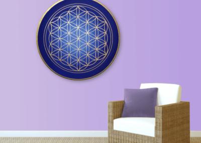 Wandbild Energiebild Blume des Lebens gold rund Evolution der Seele_hellviolett