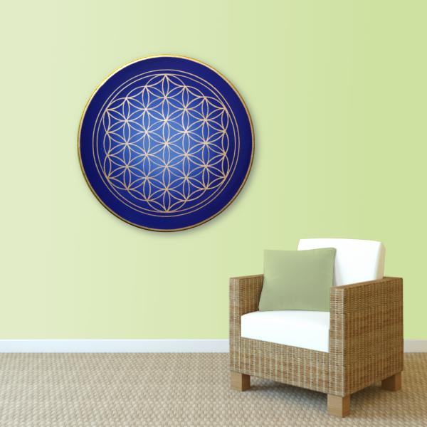 Wandbild Energiebild Blume des Lebens gold rund Evolution der Seele_lindgrün