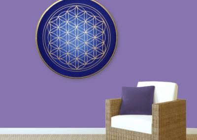 Wandbild Energiebild Blume des Lebens gold rund Evolution der Seele_violett