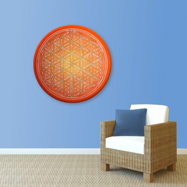 Wandbild Energiebild Blume des Lebens white spirit_hellblau