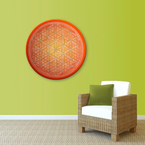 Wandbild Energiebild Blume des Lebens white spirit_lindgrün