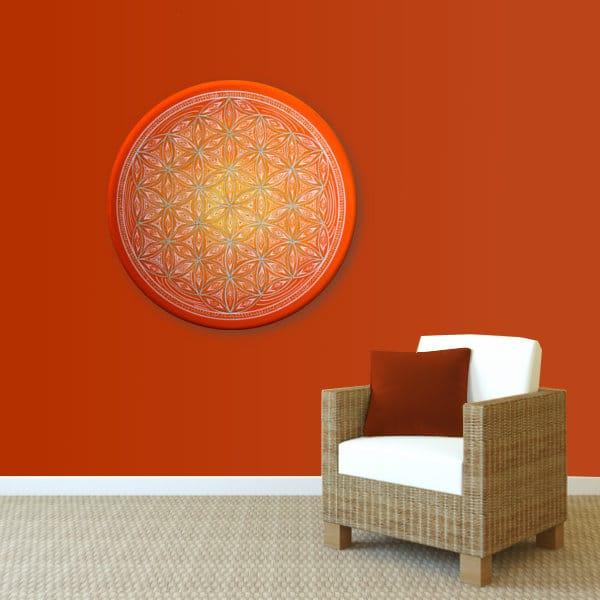 Wandbild Energiebild Blume des Lebens white spirit_rot