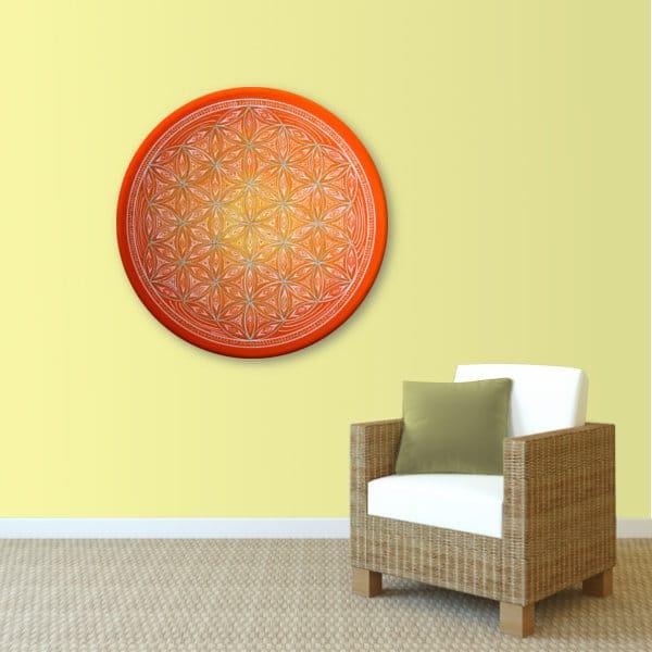 Wandbild Energiebild Blume des Lebens white spirit_sand
