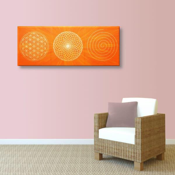 Wandbild Energiebild Energiebahnen Spirale Blume des Lebens gold orange_altrosa