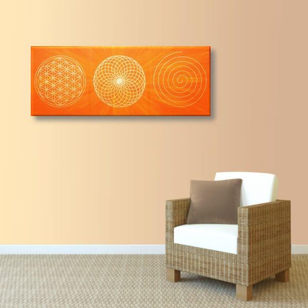 Wandbild Energiebild Energiebahnen Spirale Blume des Lebens gold orange_apricot