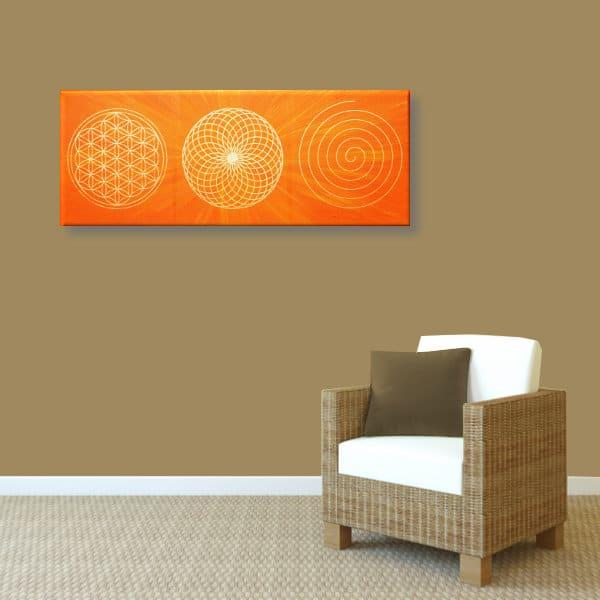 Wandbild Energiebild Energiebahnen Spirale Blume des Lebens gold orange_braun