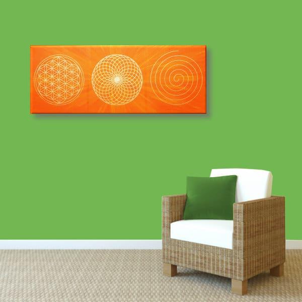 Wandbild Energiebild Energiebahnen Spirale Blume des Lebens gold orange_grün