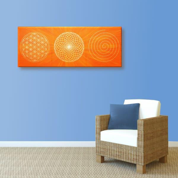 Wandbild Energiebild Energiebahnen Spirale Blume des Lebens gold orange_hellblau