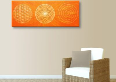 Wandbild Energiebild Energiebahnen Spirale Blume des Lebens gold orange_hellbraun