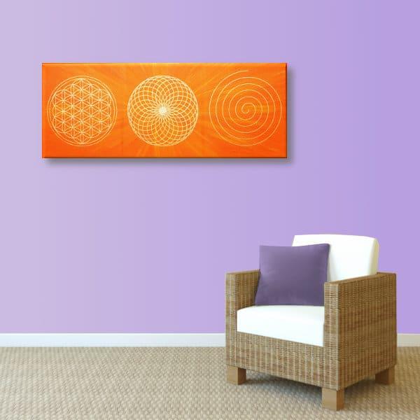 Wandbild Energiebild Energiebahnen Spirale Blume des Lebens gold orange_hellviolett
