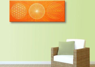 Wandbild Energiebild Energiebahnen Spirale Blume des Lebens gold orange_lindgrün
