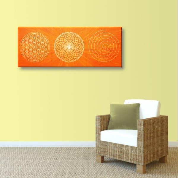 Wandbild Energiebild Energiebahnen Spirale Blume des Lebens gold orange_sand