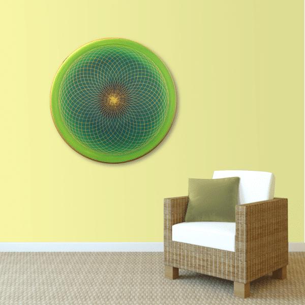 Wandbild Energiebild Energiefeld des Herzens Torus Gold grün_sand