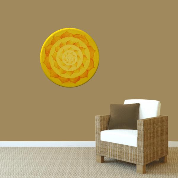 Wandbild Energiebild Lotussonne Mandala Gold_braun