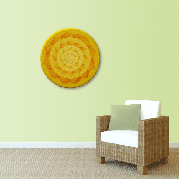 Wandbild Energiebild Lotussonne Mandala Gold_lindgrün