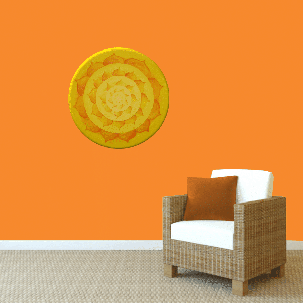 Wandbild Energiebild Lotussonne Mandala Gold_orange
