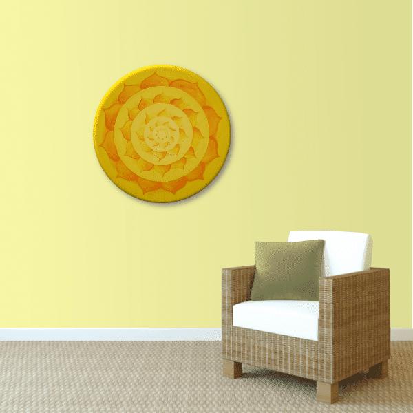 Wandbild Energiebild Lotussonne Mandala Gold_sand