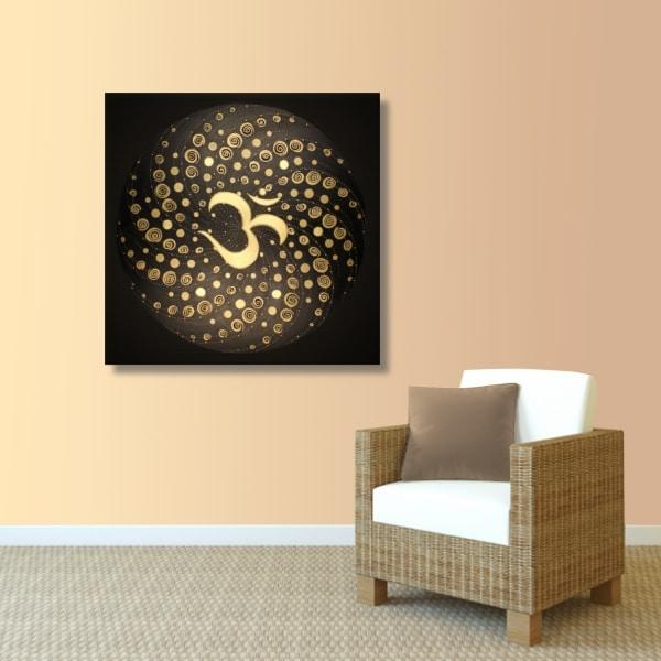 Wandbild Energiebild Mandala Element Luft 24 Karat Blattgold schwarz_apricot