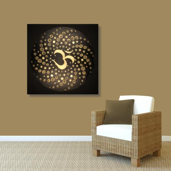 Wandbild Energiebild Mandala Element Luft 24 Karat Blattgold schwarz_braun
