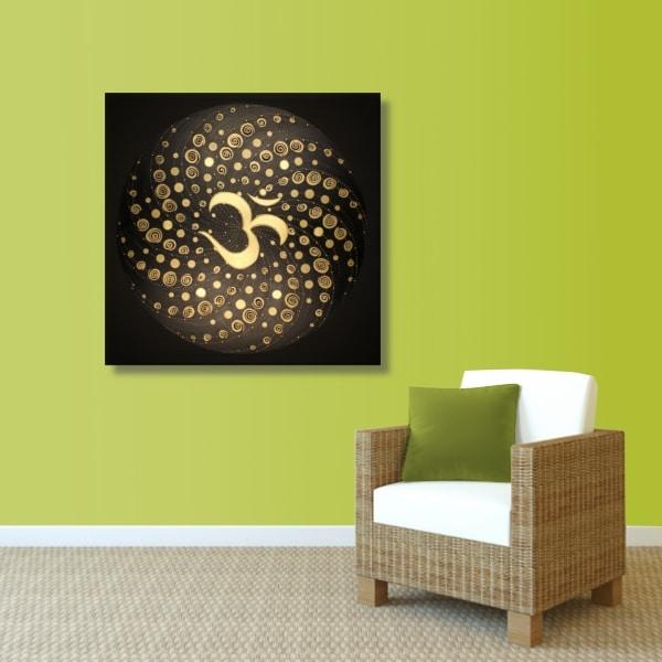 Wandbild Energiebild Mandala Element Luft 24 Karat Blattgold schwarz_grün