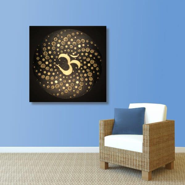 Wandbild Energiebild Mandala Element Luft 24 Karat Blattgold schwarz_hellblau