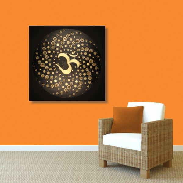 Wandbild Energiebild Mandala Element Luft 24 Karat Blattgold schwarz_orange