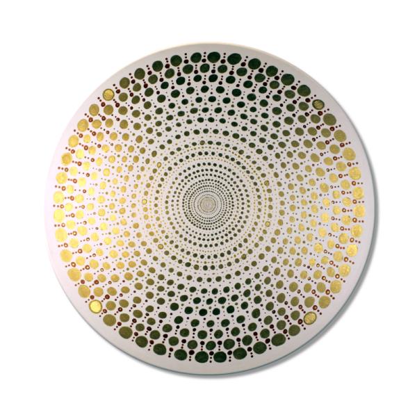 Wandbild Energiebild Mandala Element Metall gold_Frontalbild